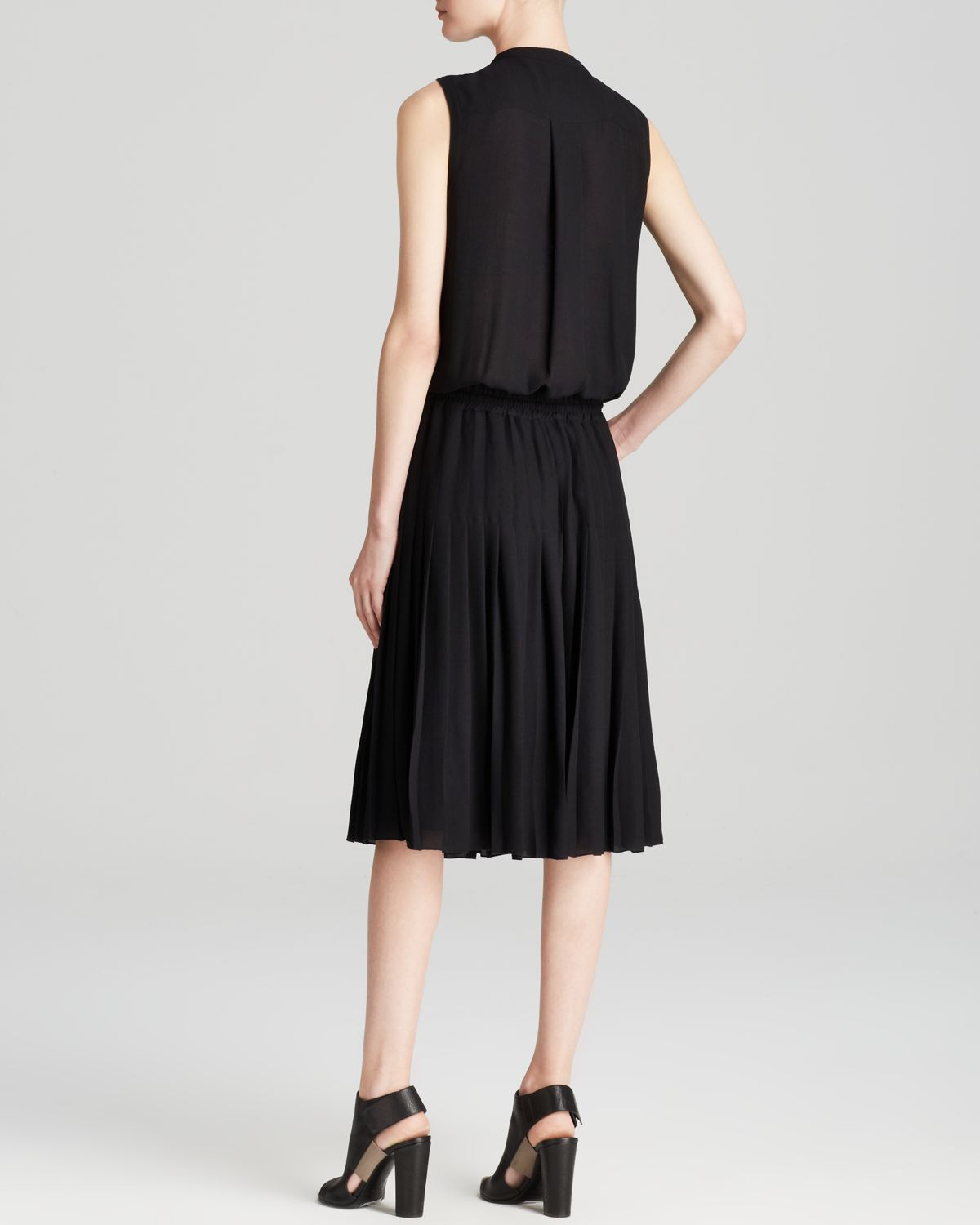 Lyst Vince Dress Pleated In Black