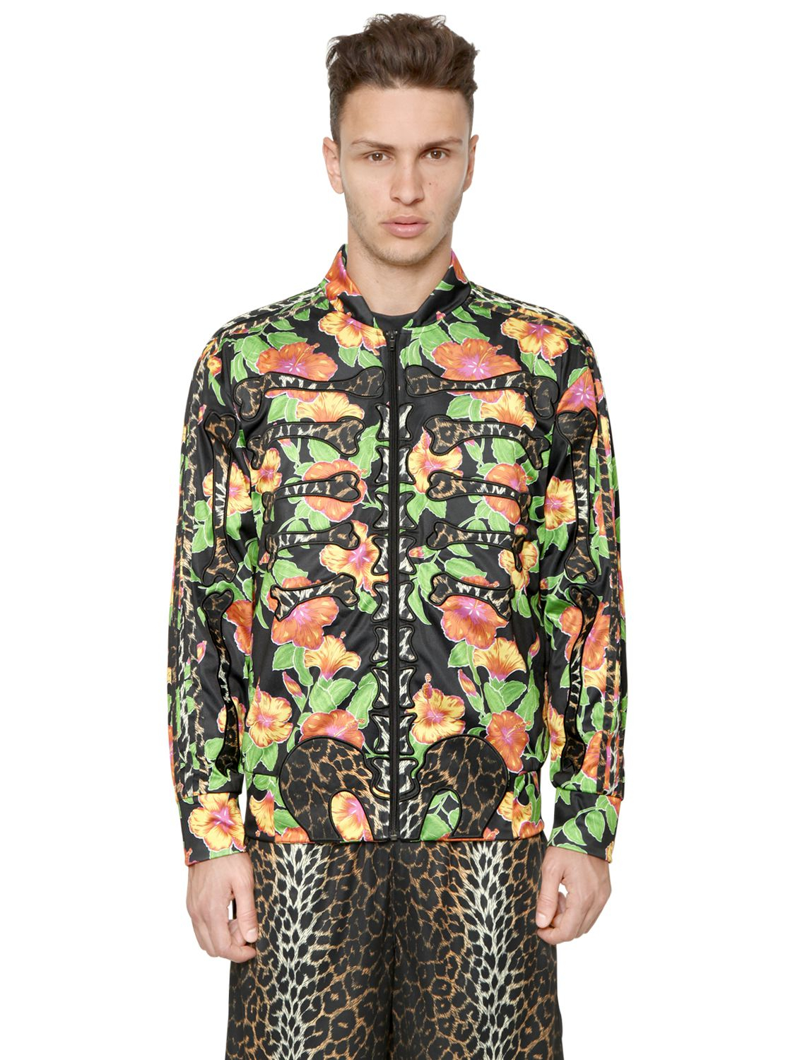 4c9c0f59f246 Lyst - Jeremy Scott for adidas Floral Printed Track Top in Green for Men