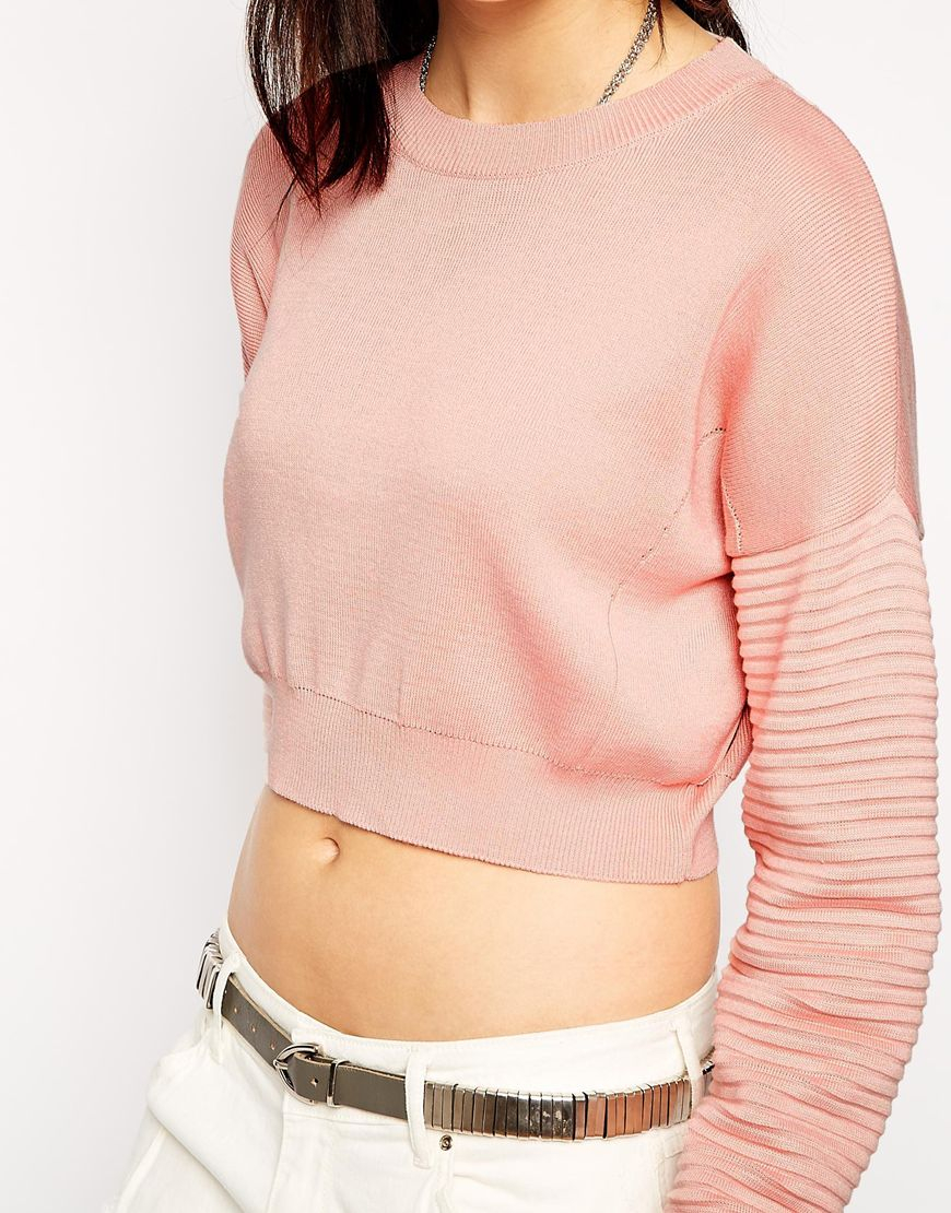 The ragged priest Cropped Sweater in Pink   Lyst