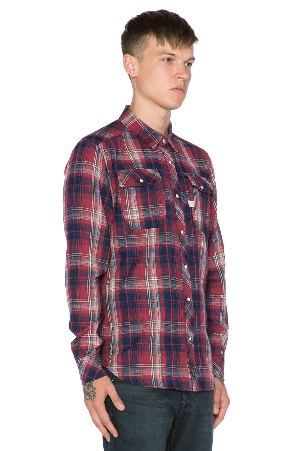 7896972cd76 G-Star RAW Landoh Indigo Vord Check Shirt in Red for Men - Lyst