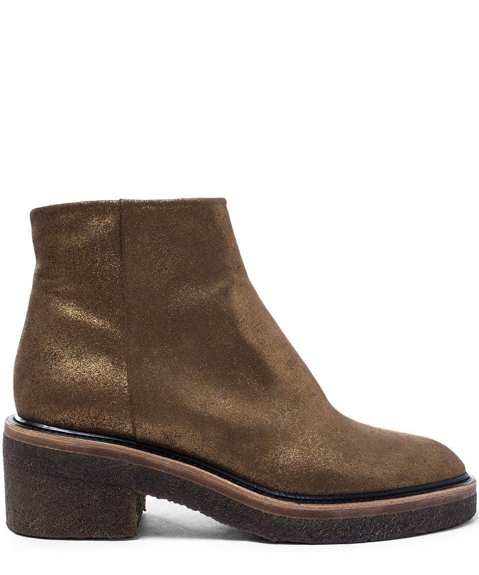 Dries van noten Gold Crepe Sole Leather Ankle Boots in Metallic | Lyst