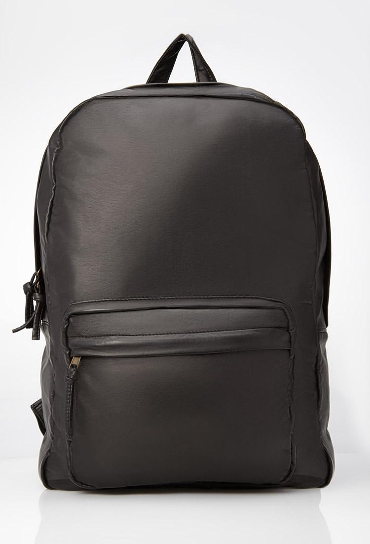 Forever 21 Faux Leather Backpack in Black for Men