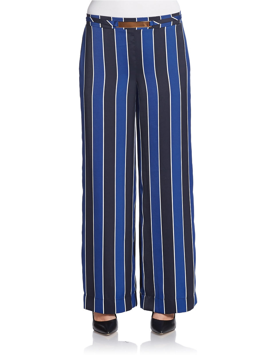 Available In Blue Tie Belt Stripe Print