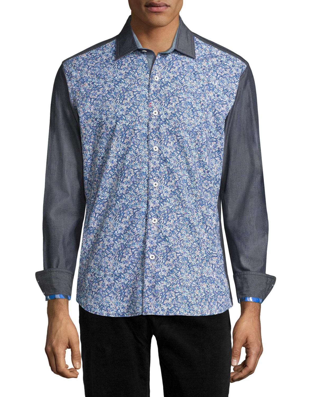 Robert graham bamboo orchid long sleeve sport shirt in for Robert graham sport shirt