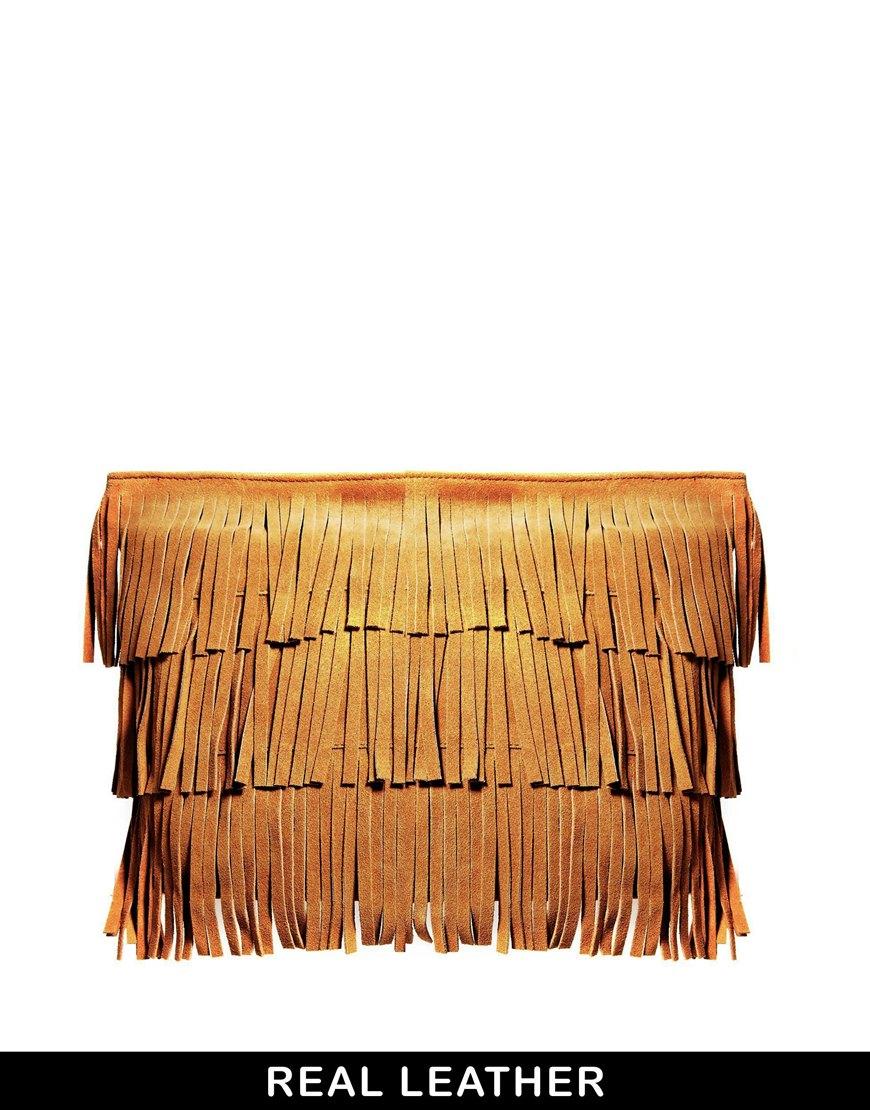 Asos Suede Heavy Fringe Clutch Bag in Orange | Lyst