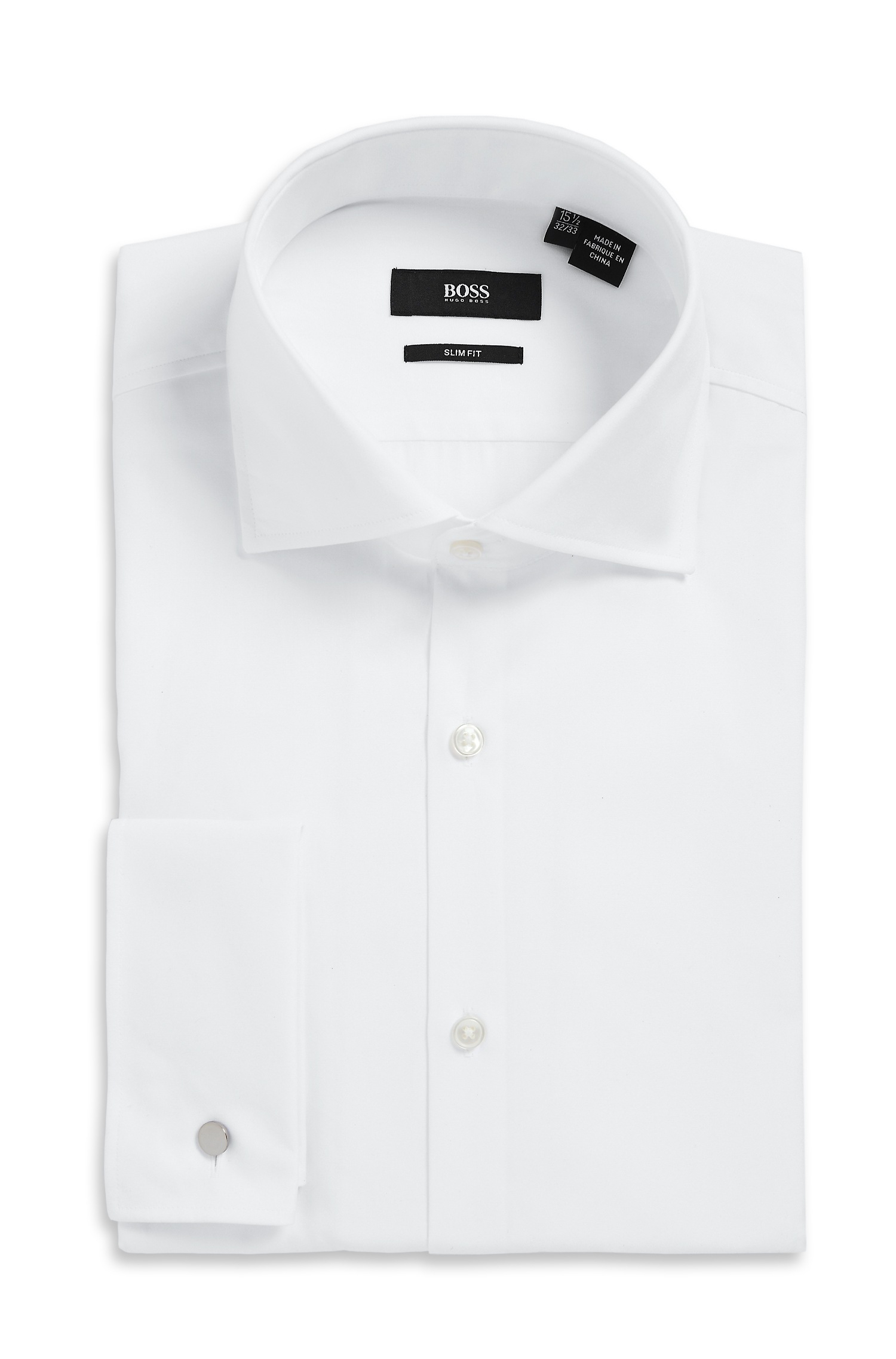 Boss 39 jacco us 39 slim fit spread collar cotton french White french cuff shirt slim fit