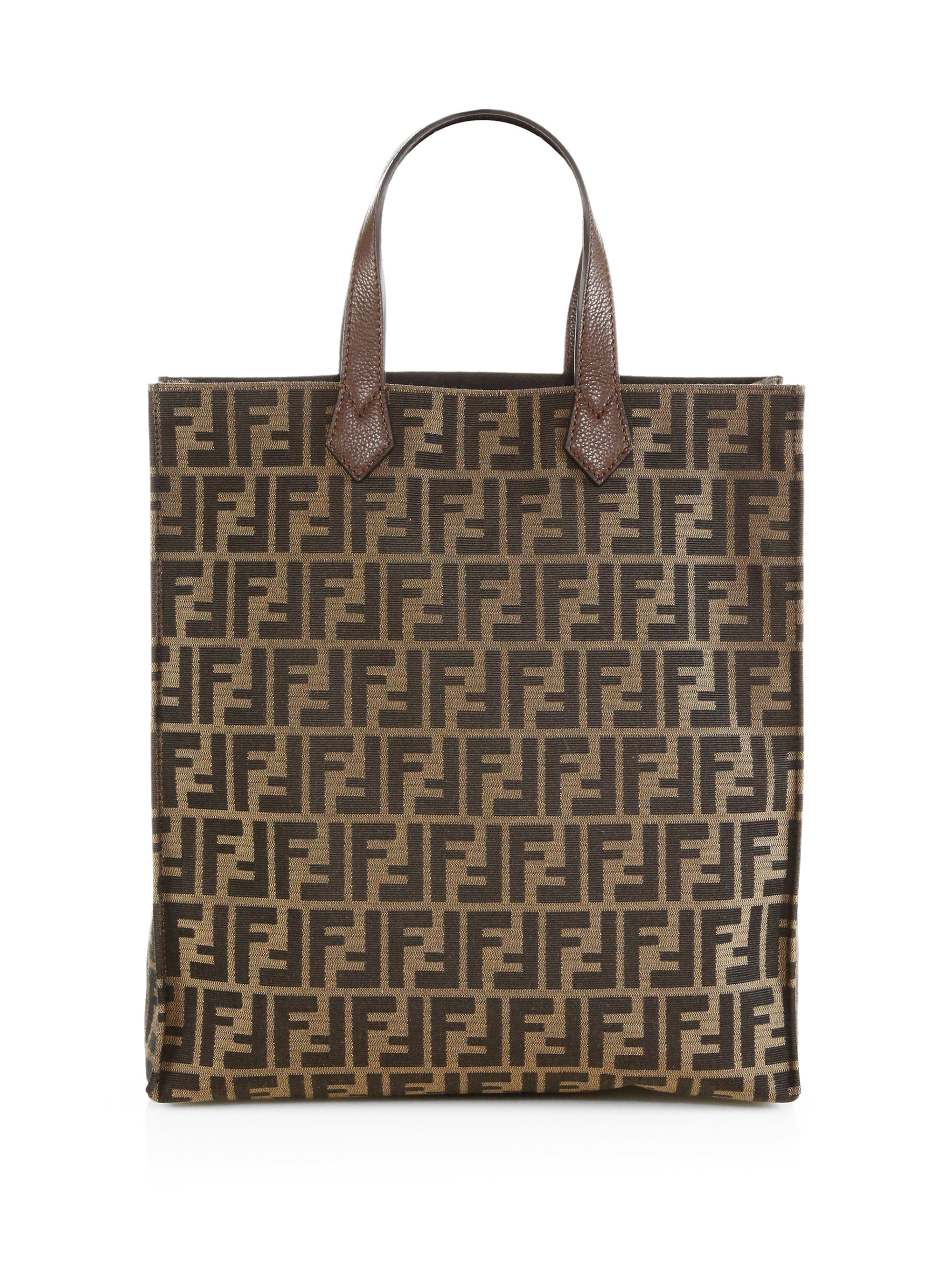 f81f202099 ... low price lyst fendi signature monogram shopping bag in brown 0f868  9d30e ...