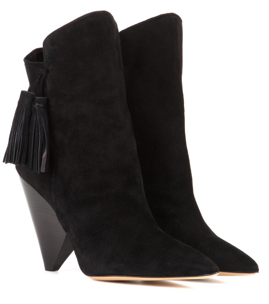 isabel marant leyton suede ankle boots in black lyst. Black Bedroom Furniture Sets. Home Design Ideas