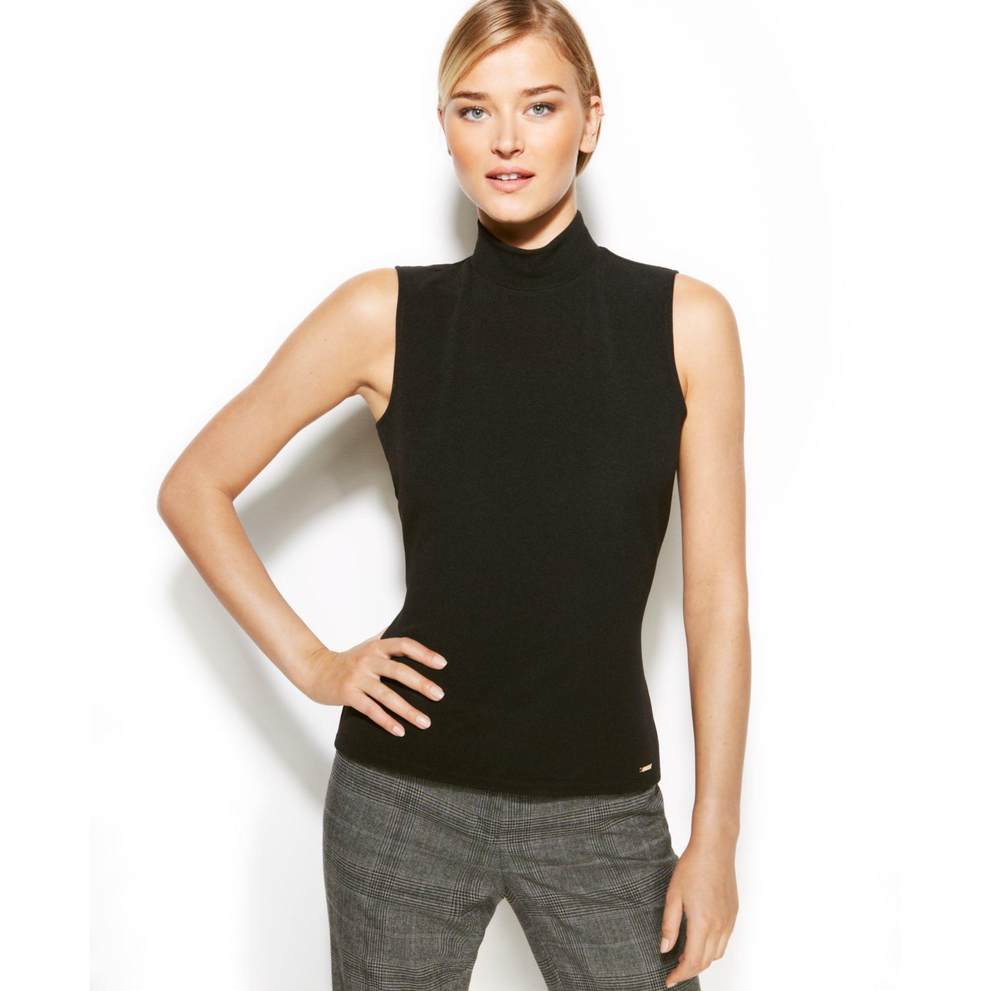 Calvin Klein Sleeveless Ribbed Mock Turtleneck In Black Lyst