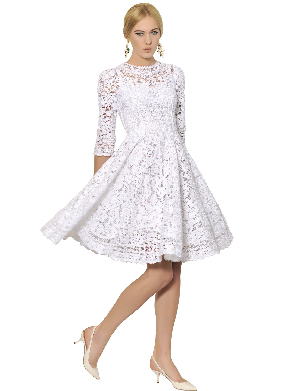 Dolce &amp- gabbana White Cotton Filet Lace Dress in White - Lyst