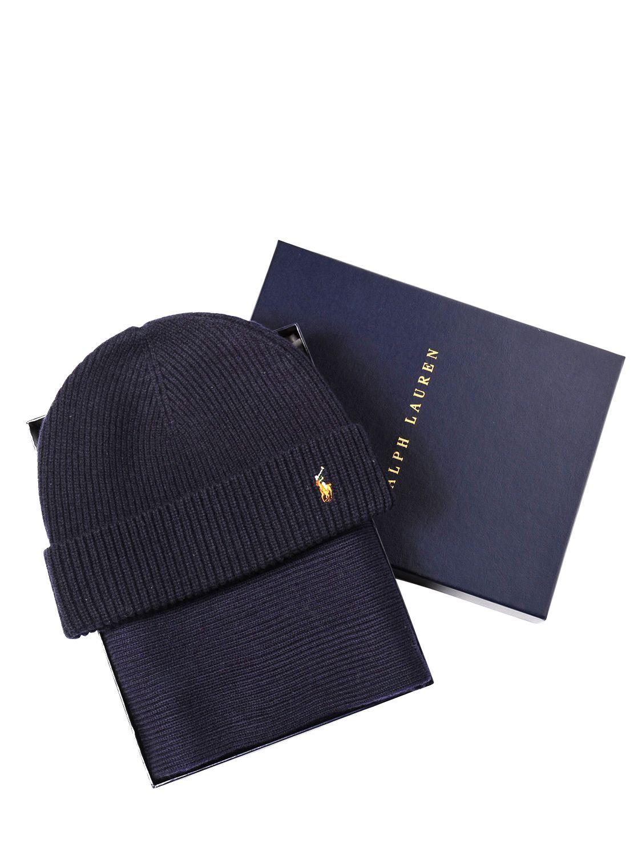 b35560588 ... canada polo ralph lauren merino wool scarf beanie hat set in blue lyst  88a97 dc2bf ...