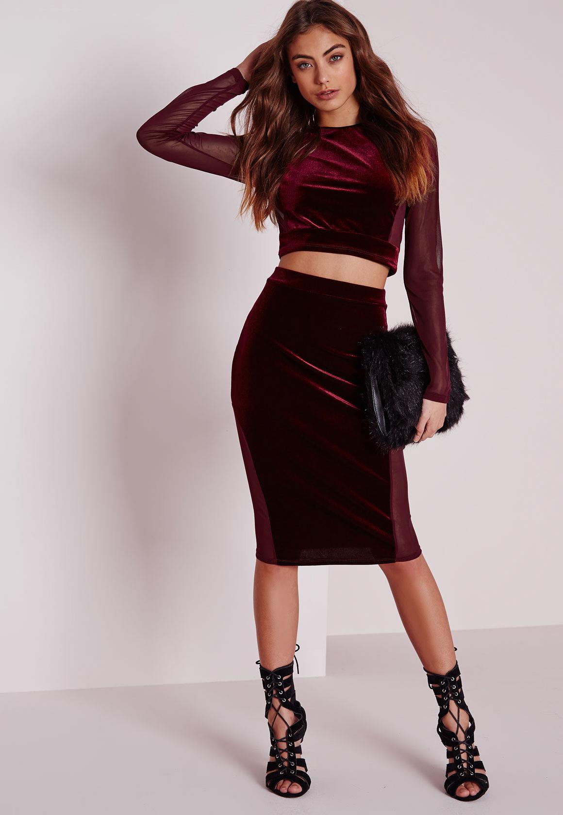 missguided mesh velvet midi skirt burgundy in lyst