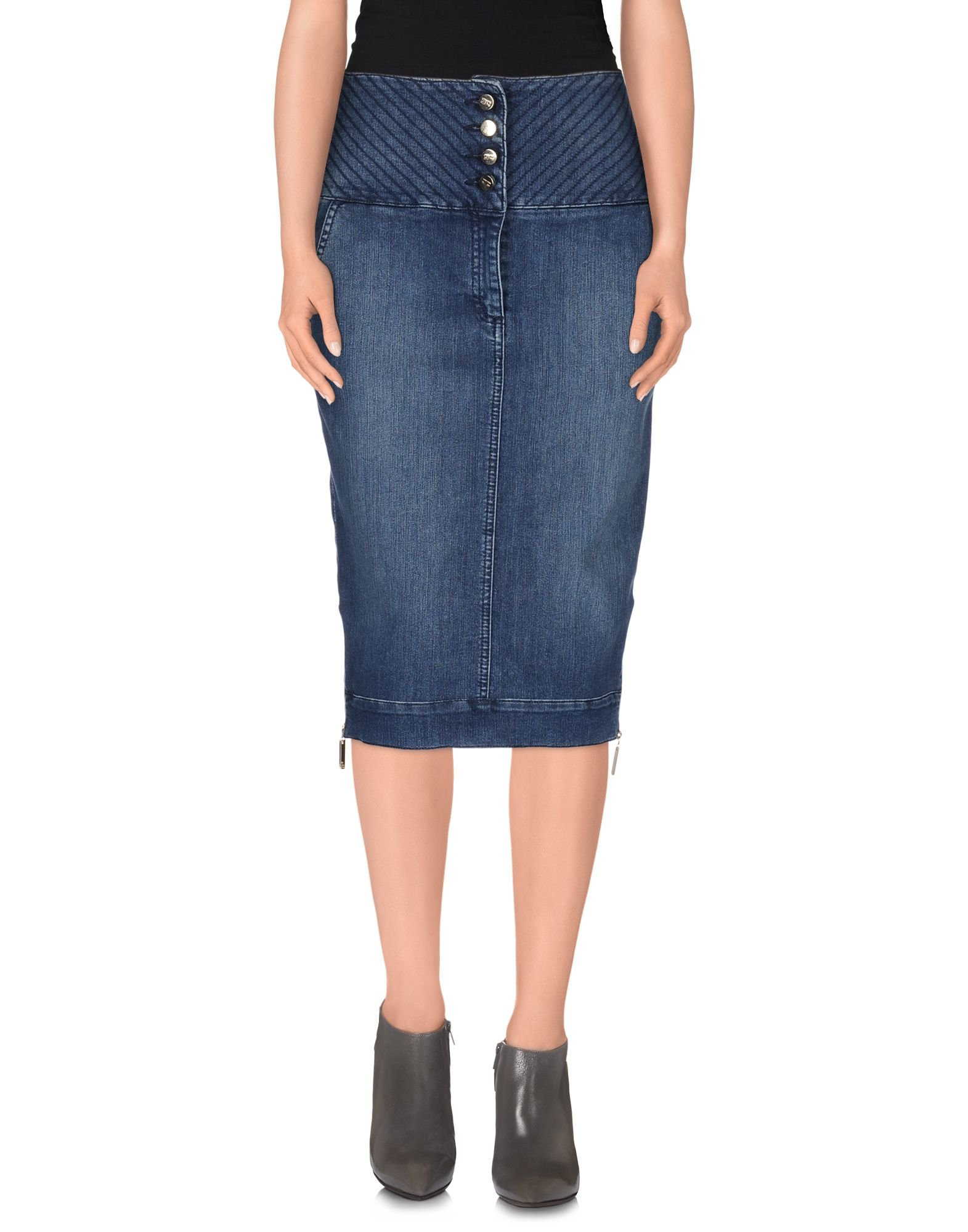 elisabetta franchi denim skirt in blue lyst