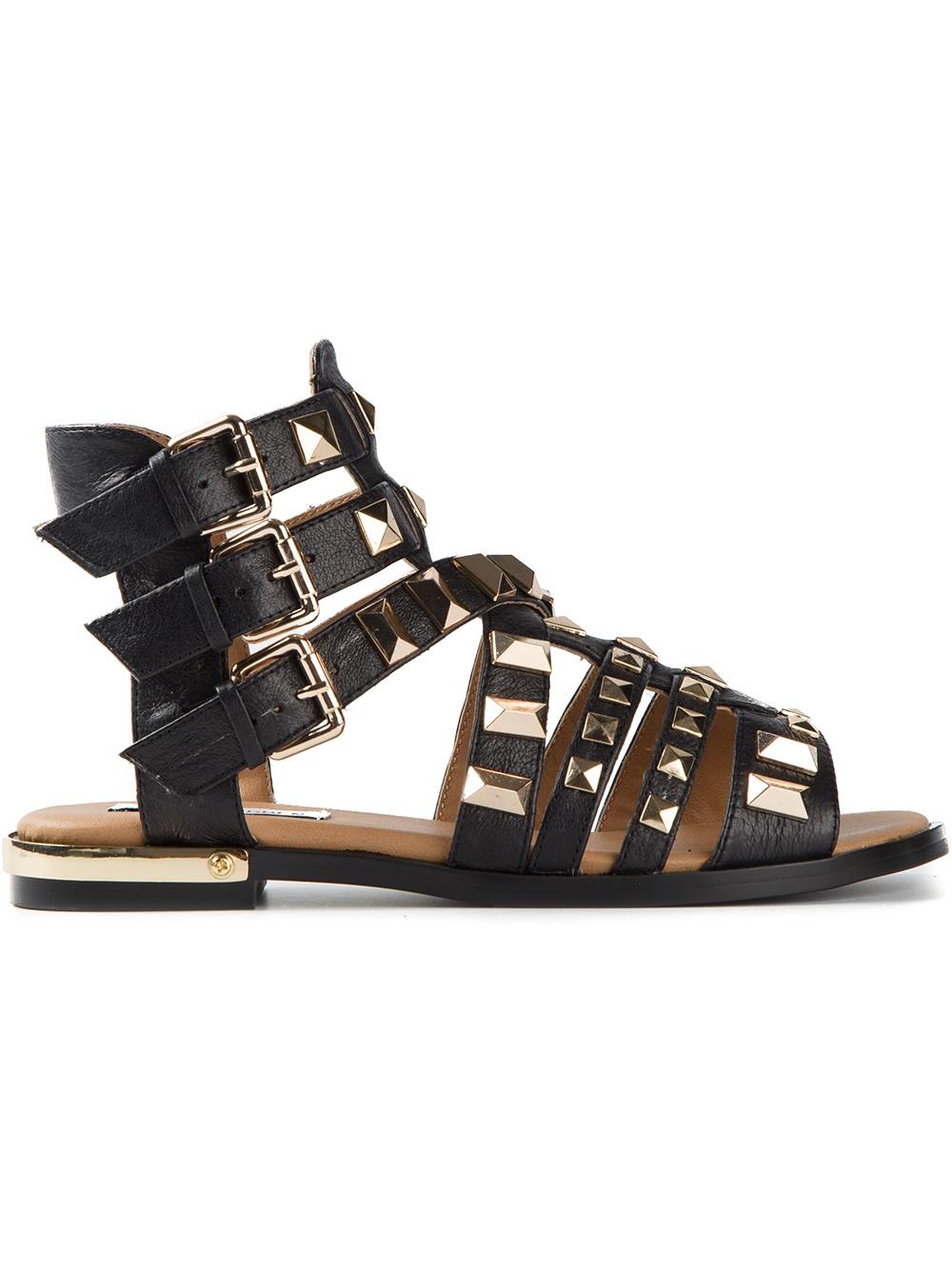 Lyst Steve Madden Herra Flat Sandals In Black