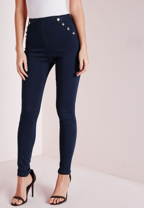 Missguided Sinner High Waisted Side Button Jeans Indigo in Blue | Lyst