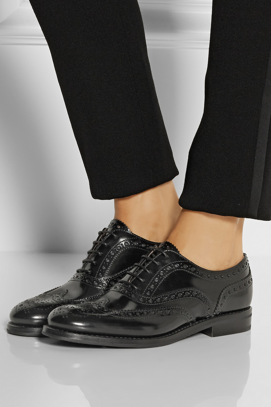 Church S The Burwood Glossed Leather Brogues In Black Lyst