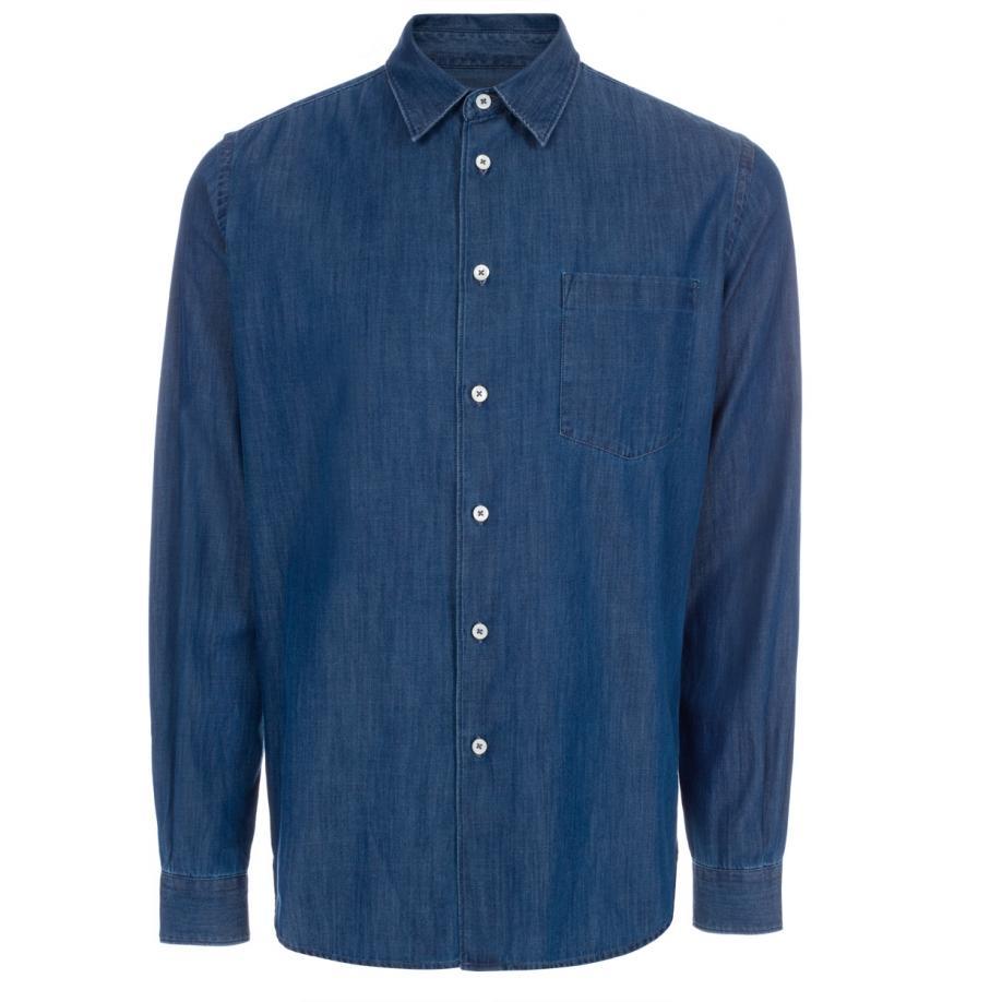 paul smith s indigo cotton denim shirt in blue for