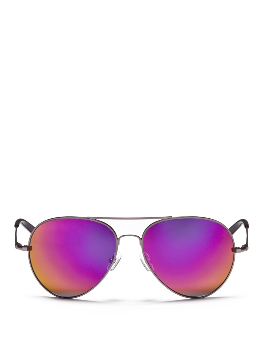 Matthew Williamson X Linda Farrow Metal Mirror Aviator Sunglasses in Purple (Black)