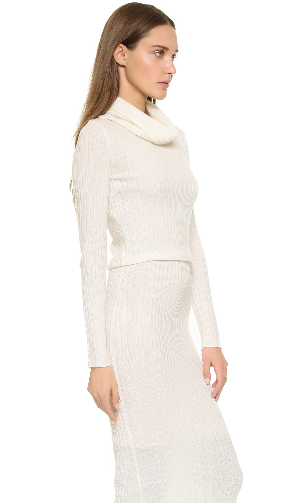Alice   olivia Hailee Turtleneck Sweater Dress - Cream in Natural ...