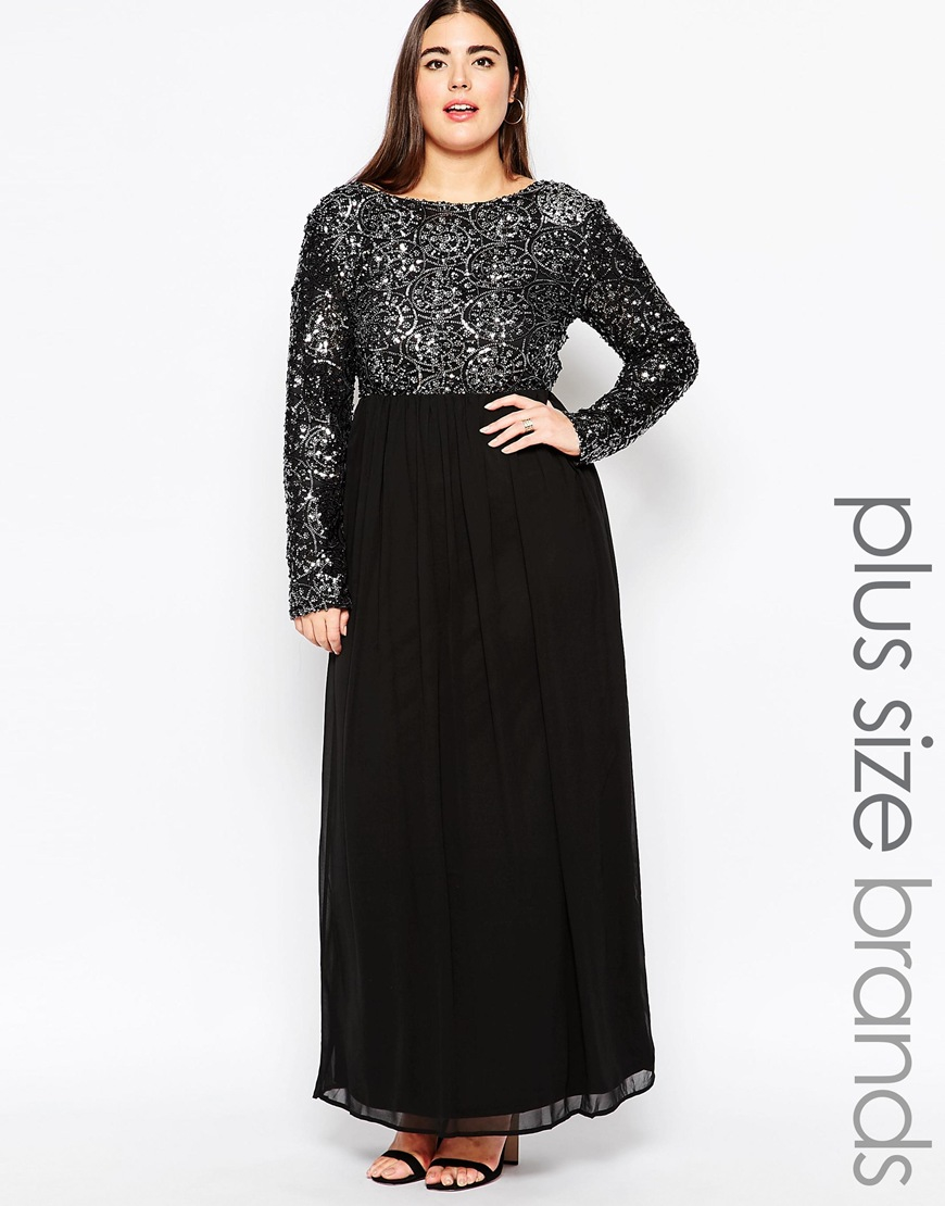 Plus Size Maxi Dress With Geometric Sequin Top