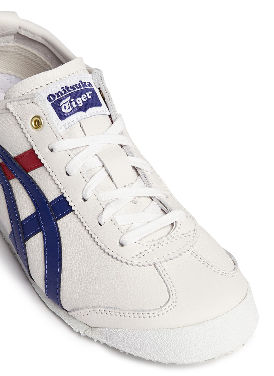 lowest price 2d66f 704d7 Onitsuka Tiger White 'mexico 66' Mix Stripe Leather Sneakers