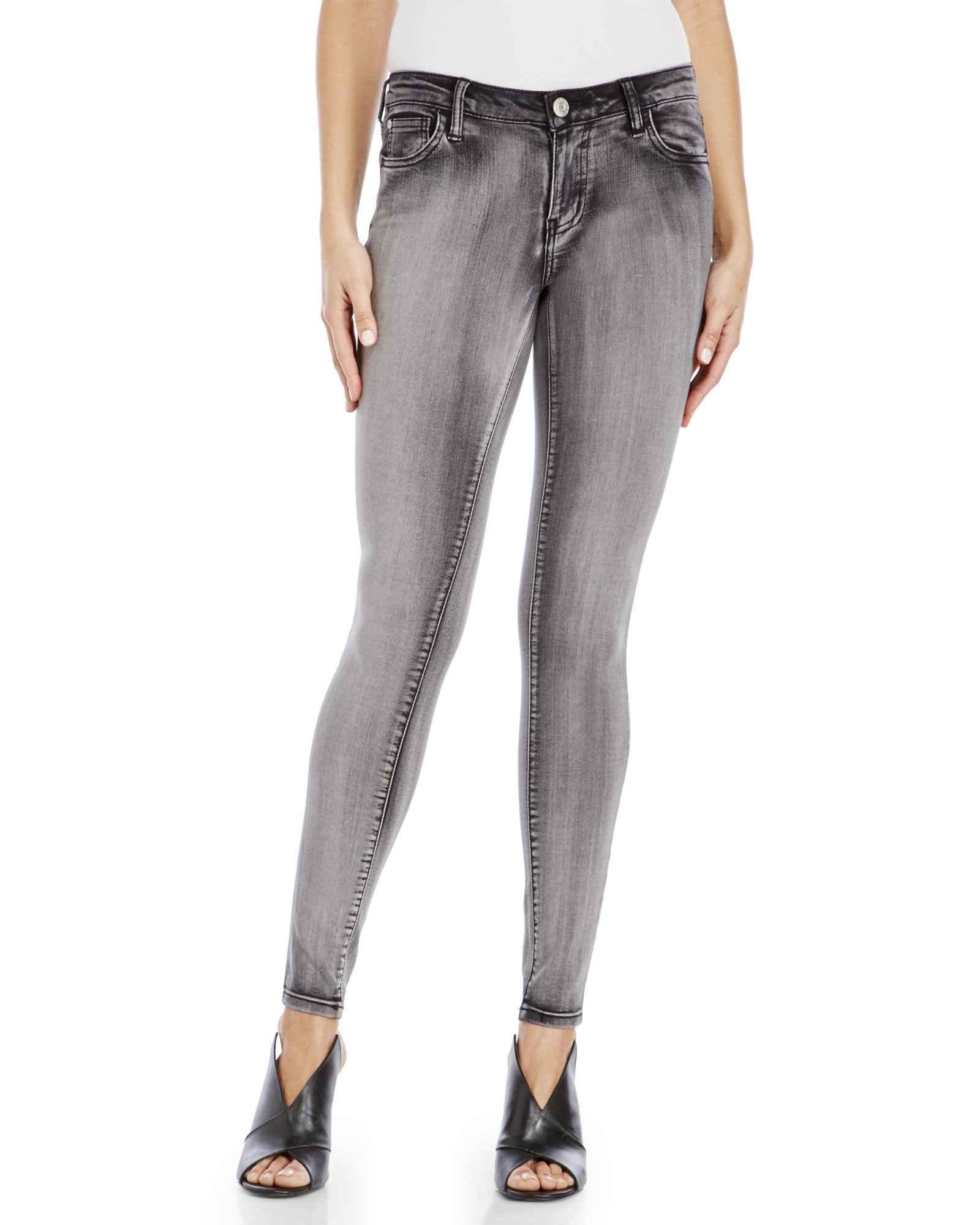 6046a70e601 Lyst - Celebrity Pink Faded Black Skinny Jeans in Gray
