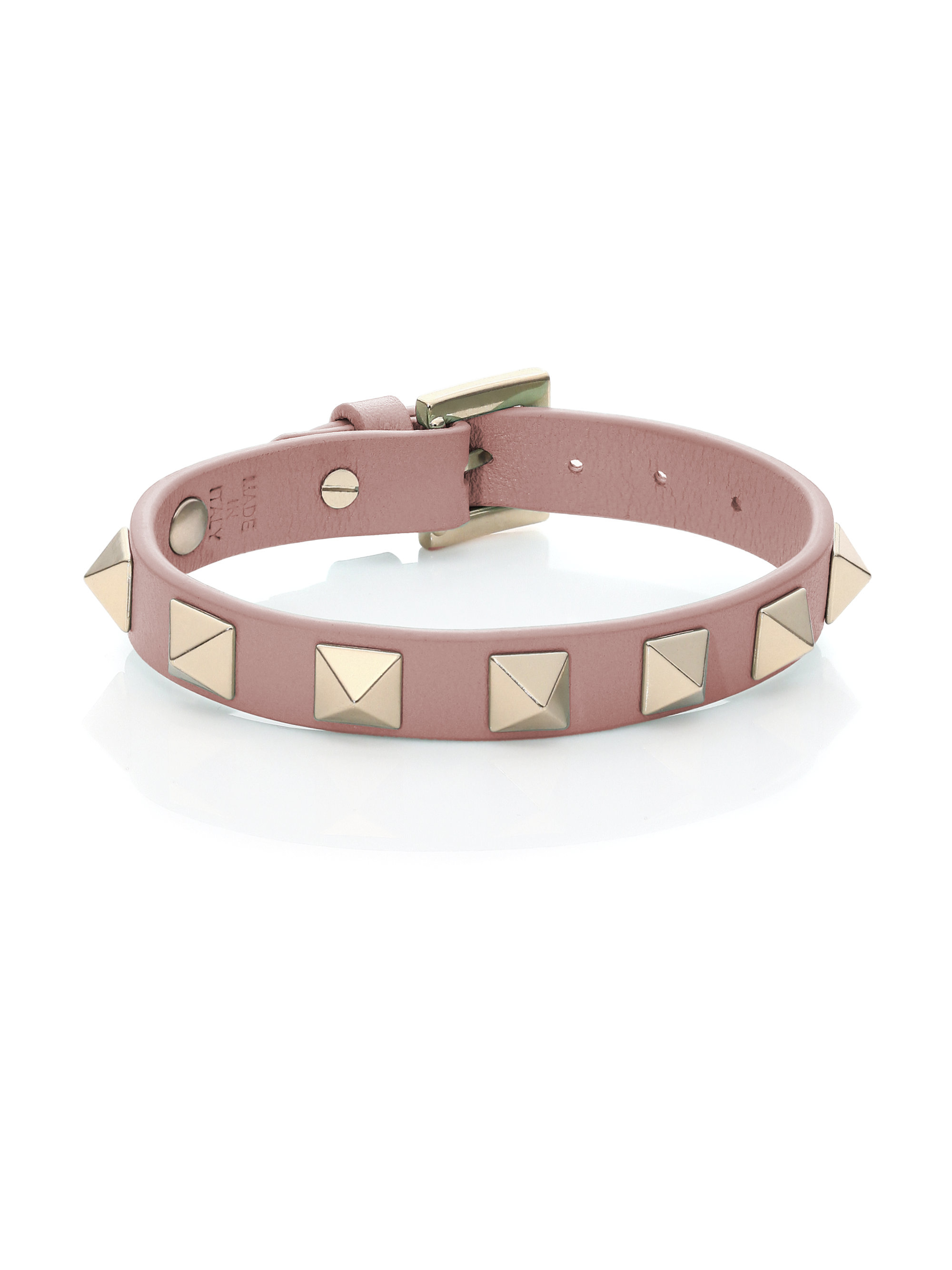 valentino rockstud small leather bracelet in pink lyst