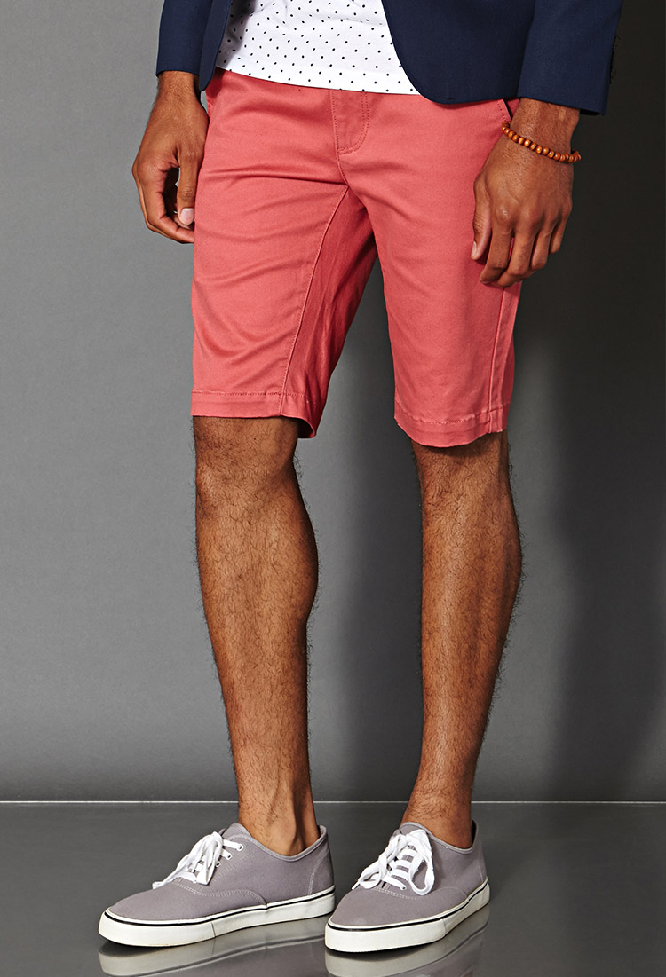 Forever 21 Cotton-blend Chino Shorts in Pink for Men | Lyst