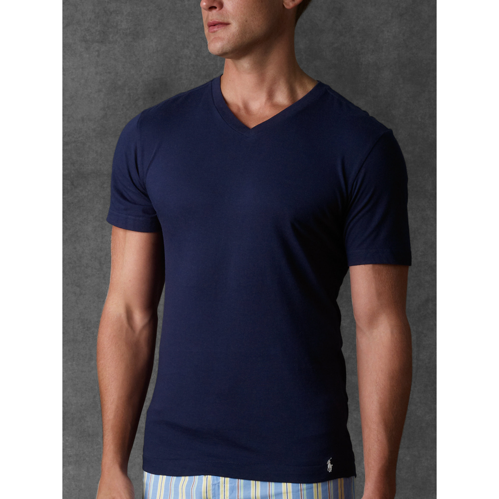 4a4bd9877aa Lyst - Polo Ralph Lauren Slim-fit V-neck Three-pack in Blue for Men