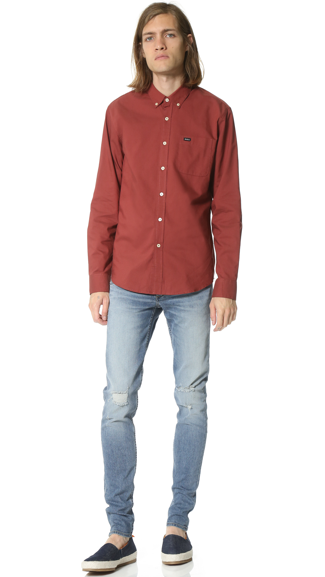 rvca that u0027ll do oxford shirt in red for men lyst