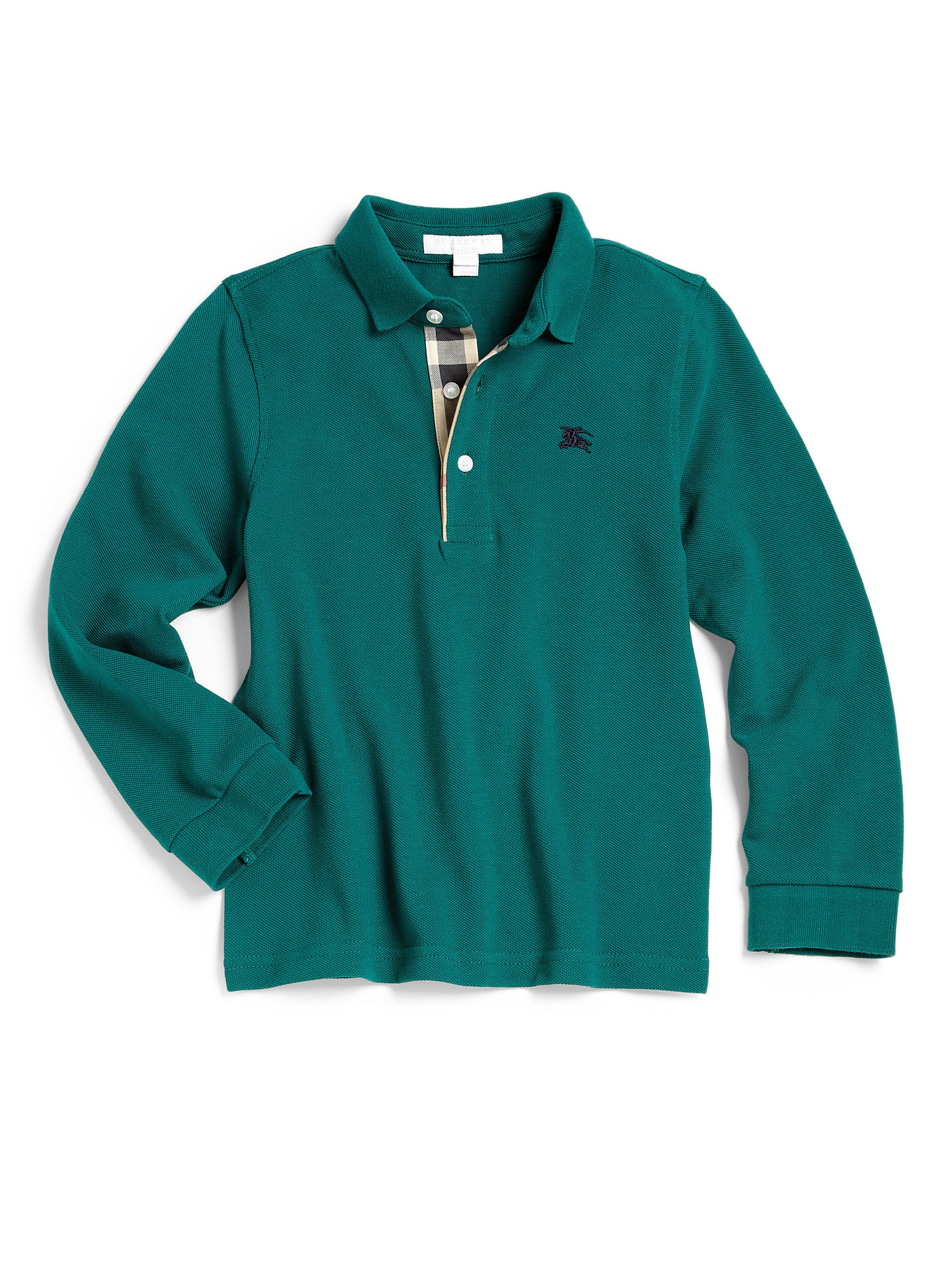 Burberry little boys long sleeve pique polo shirt in green for Long sleeved polo shirts for boys
