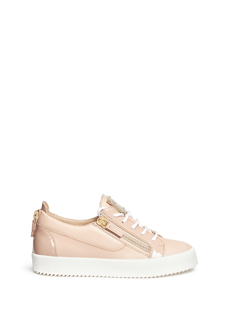 giuseppe zanotti leather low top sneakers in pink