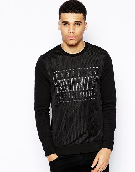 Asos Sweatshirt with Parental Advisory Print and Mesh in ...