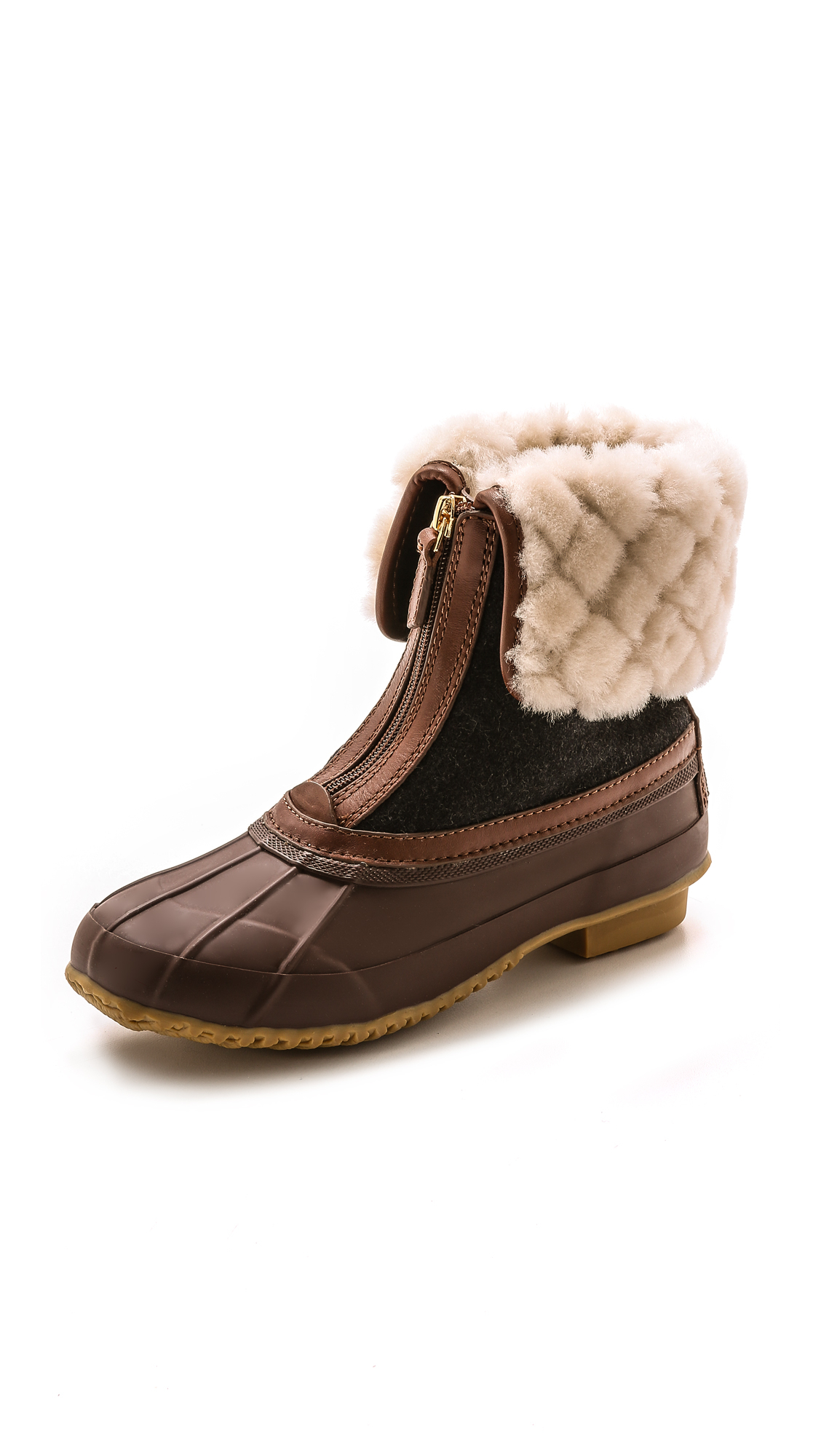 5ecfbb87b75 Tory Burch Abbott Shearling-Cuff Duck Boot in Brown - Lyst