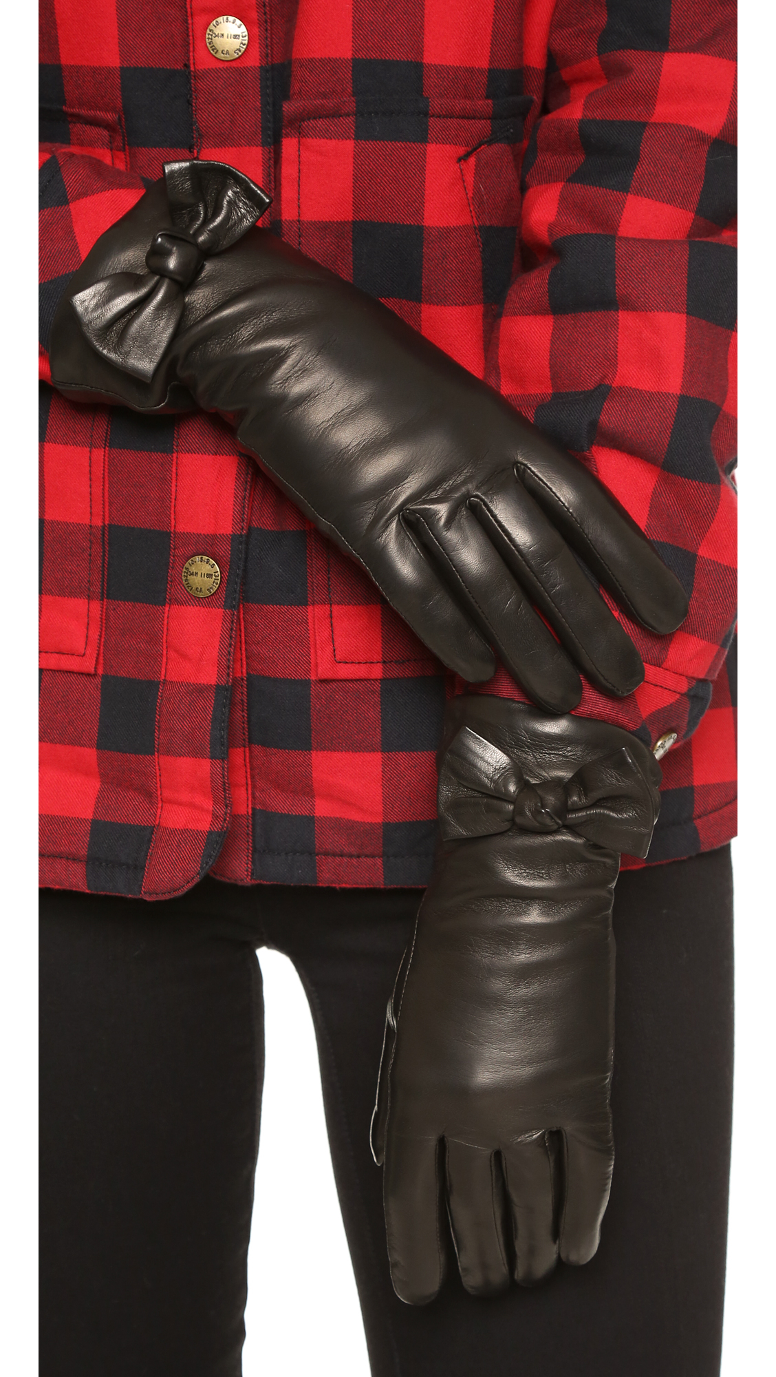 Black gloves with bow -  Leather Bow Gloves Gloves