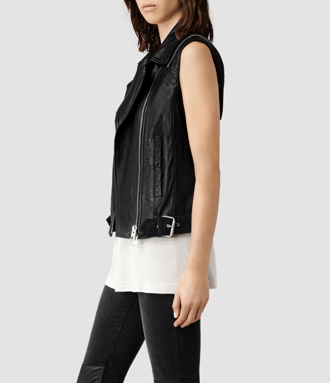 Allsaints Range Leather Biker Jacket in Black