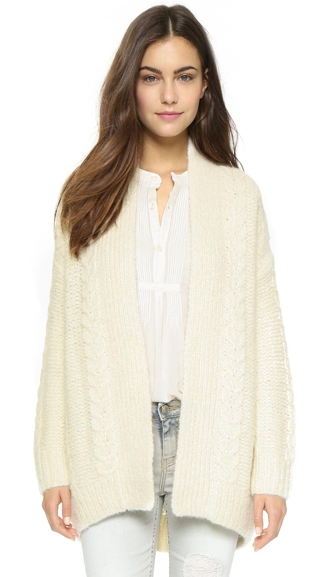 Nili lotan Long Sleeve Kimono Cardigan Sweater - Ivory in White | Lyst