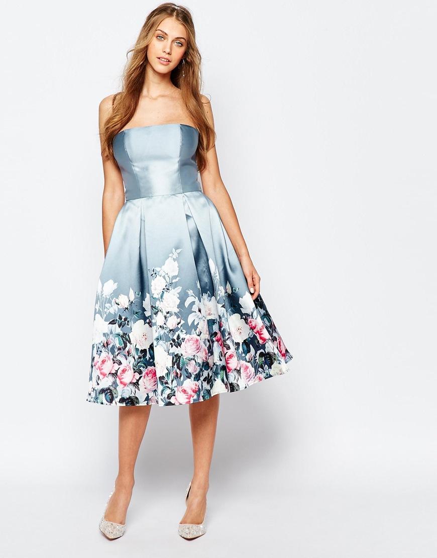 58f5f009a4f82 Lyst - Chi Chi London Bandeau Midi Dress In Sateen Floral Print ...