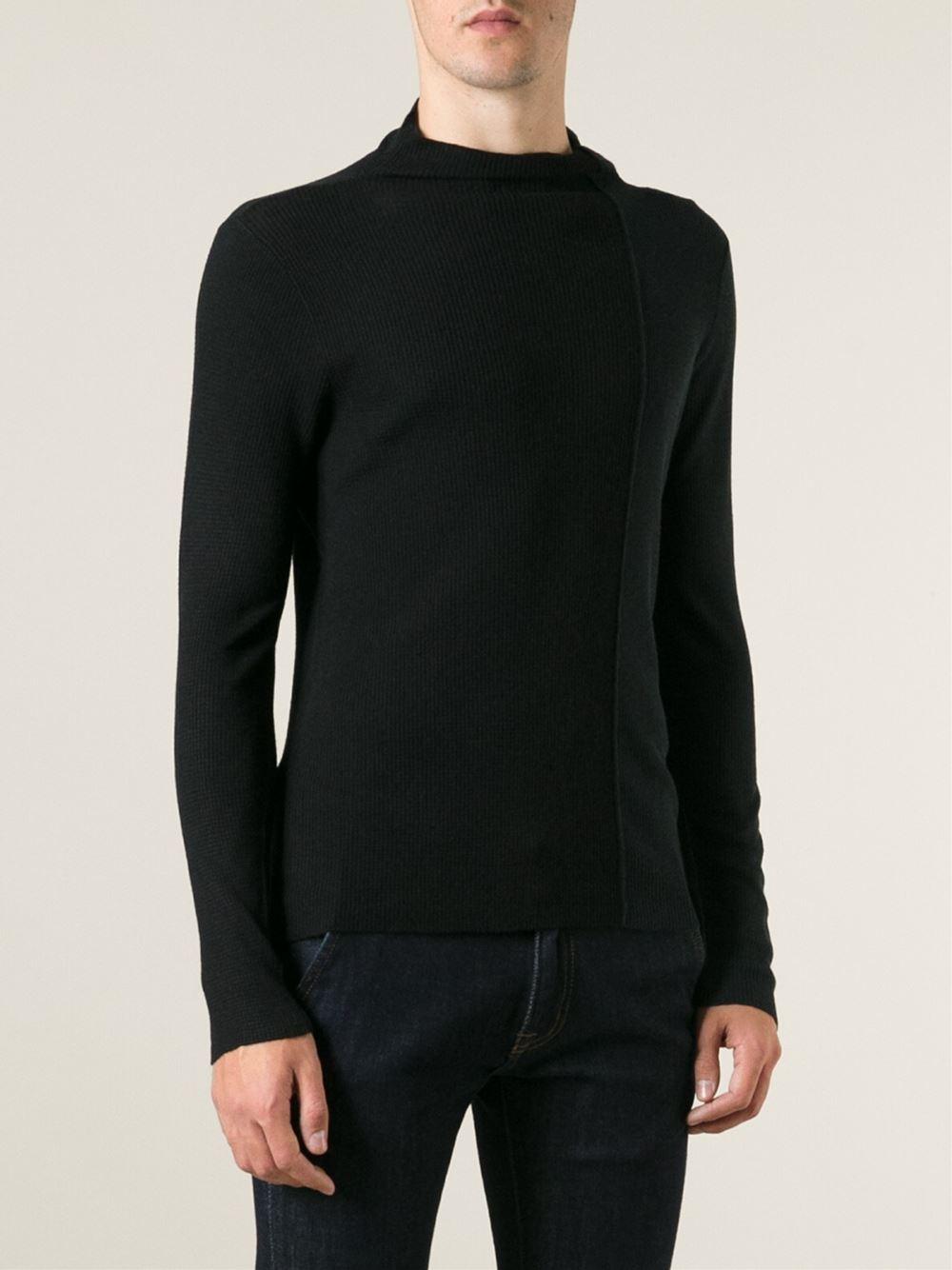 emporio armani crew neck sweater in black for men lyst. Black Bedroom Furniture Sets. Home Design Ideas