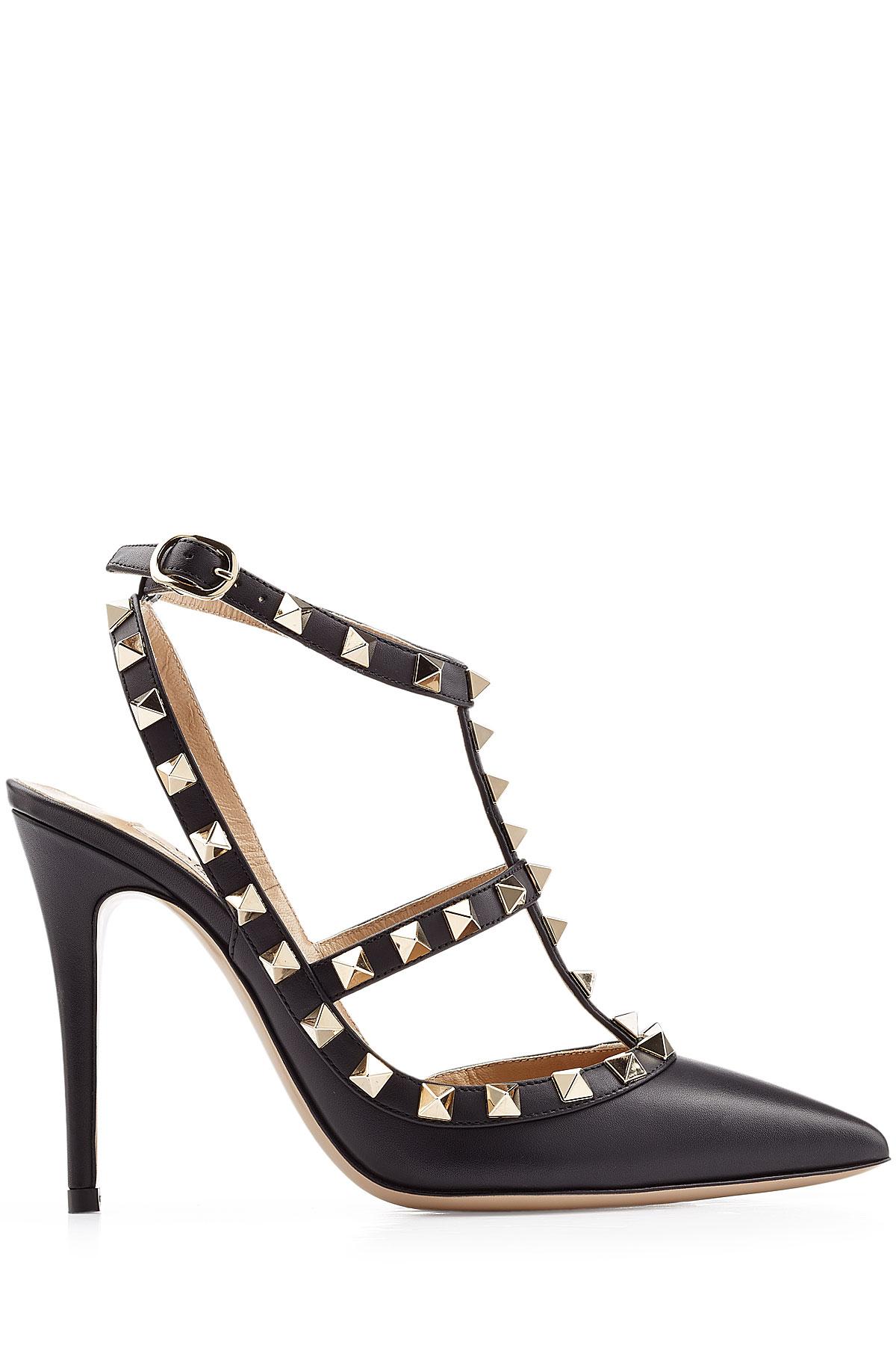 lyst valentino rockstud leather pumps black in black. Black Bedroom Furniture Sets. Home Design Ideas