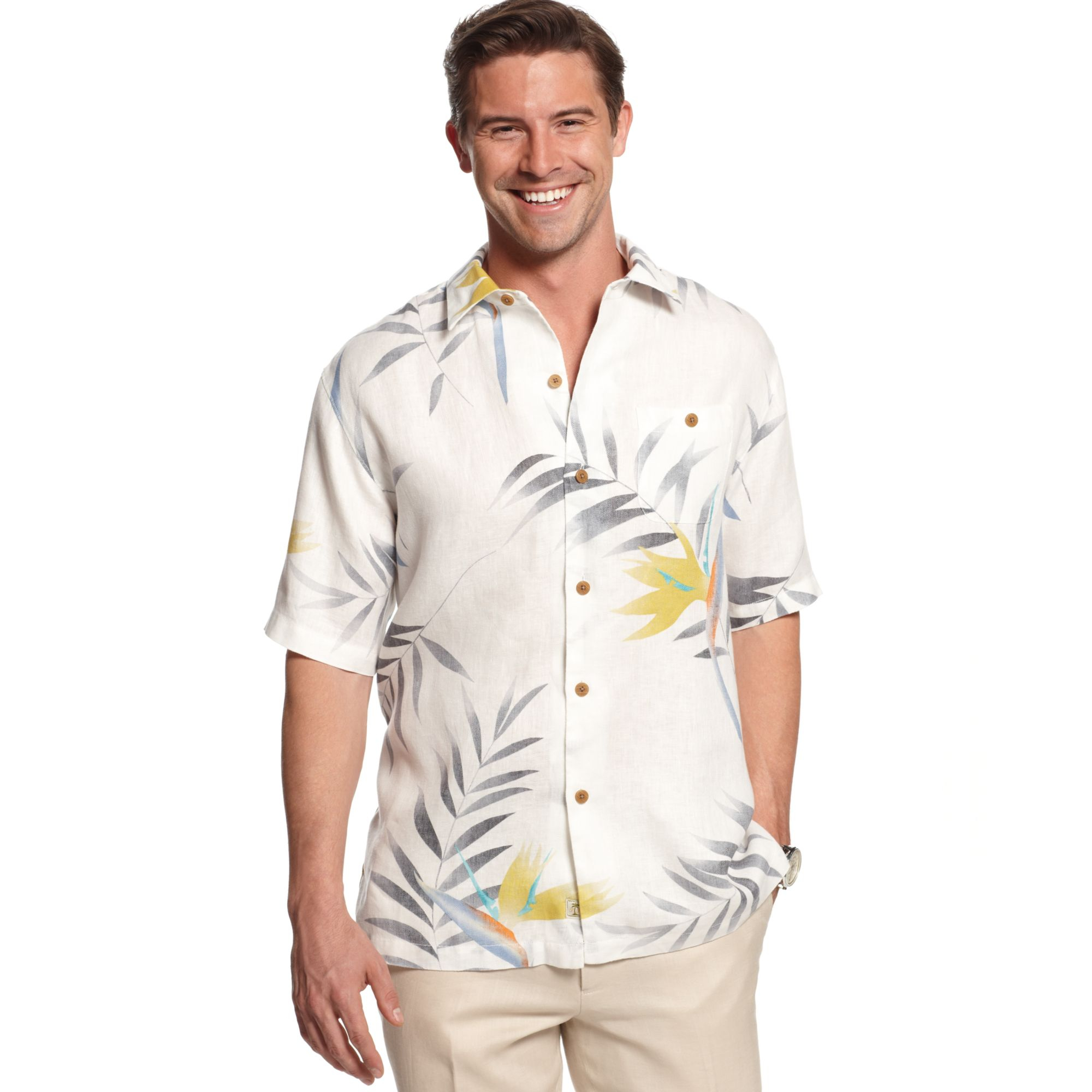 Lyst tommy bahama garden of hope and courage linen shirt for Tommy bahama christmas shirt 2014