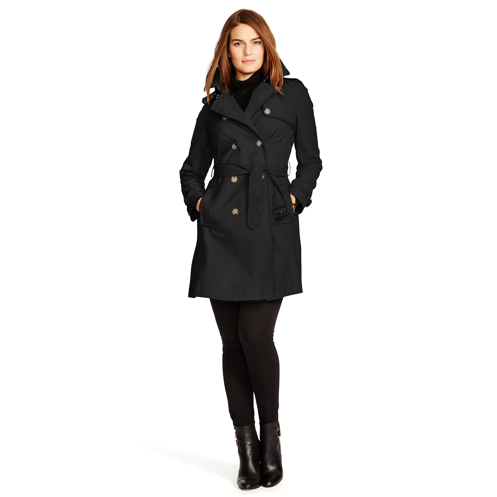cd1aee3e Pink Pony Black Faux Leather–trim Trench Coat