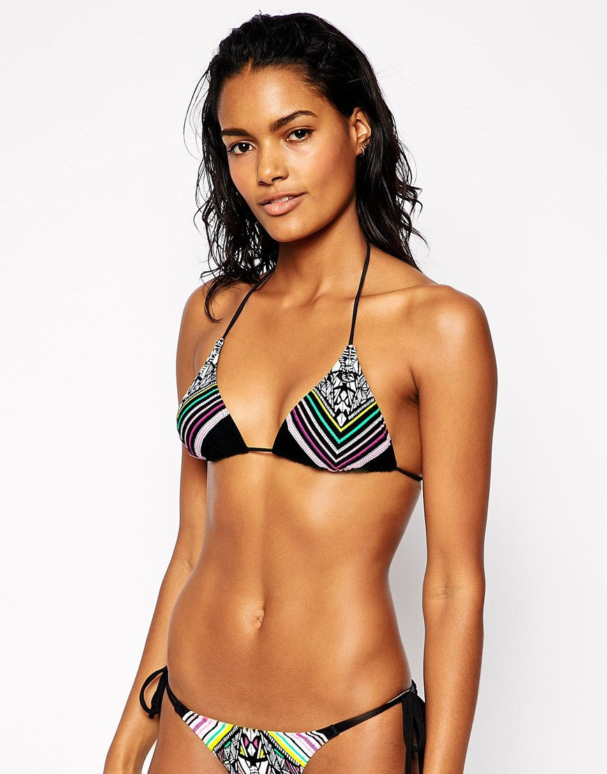 rip curl ripcurl triangle bikini top in black lyst. Black Bedroom Furniture Sets. Home Design Ideas