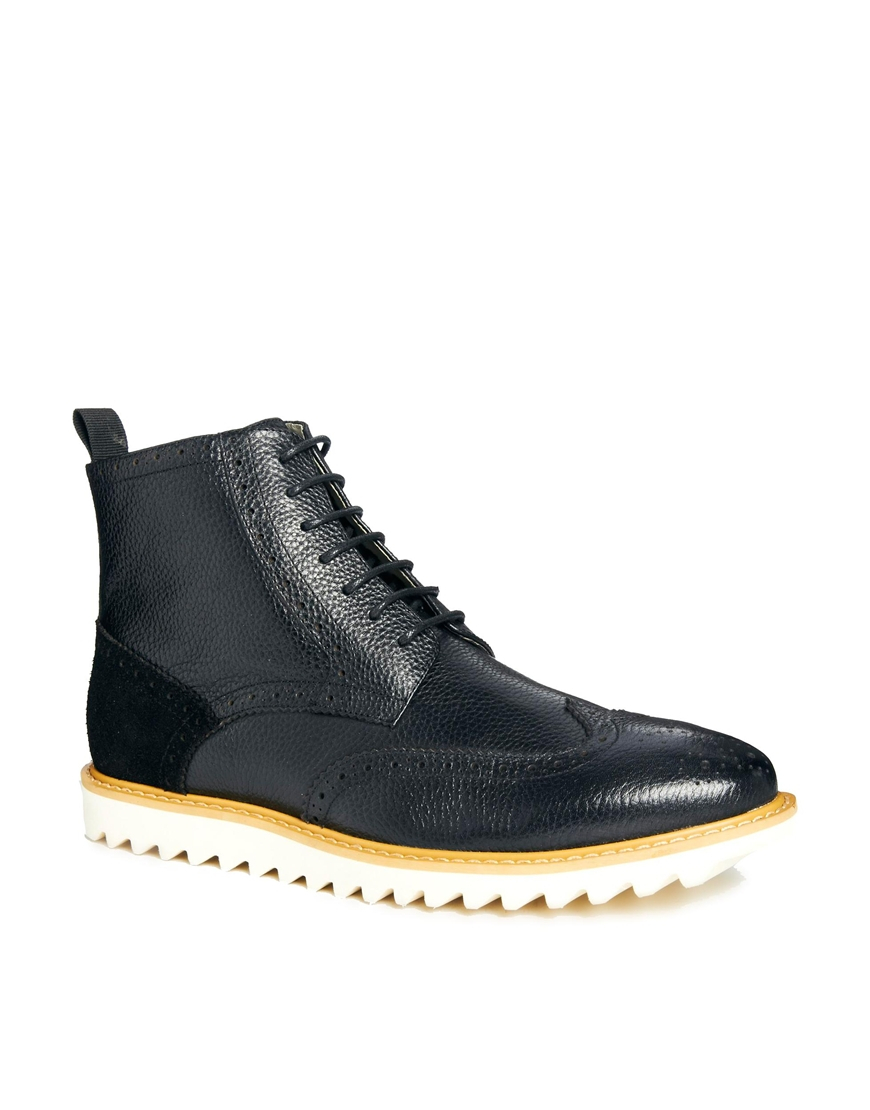asos brogue boots in leather in black for save 64