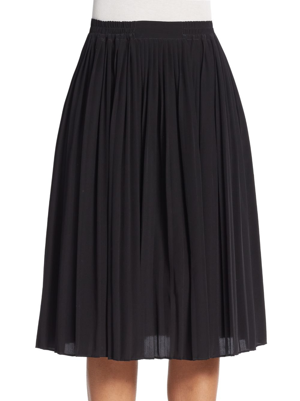 valentino pleated silk a line skirt in black lyst