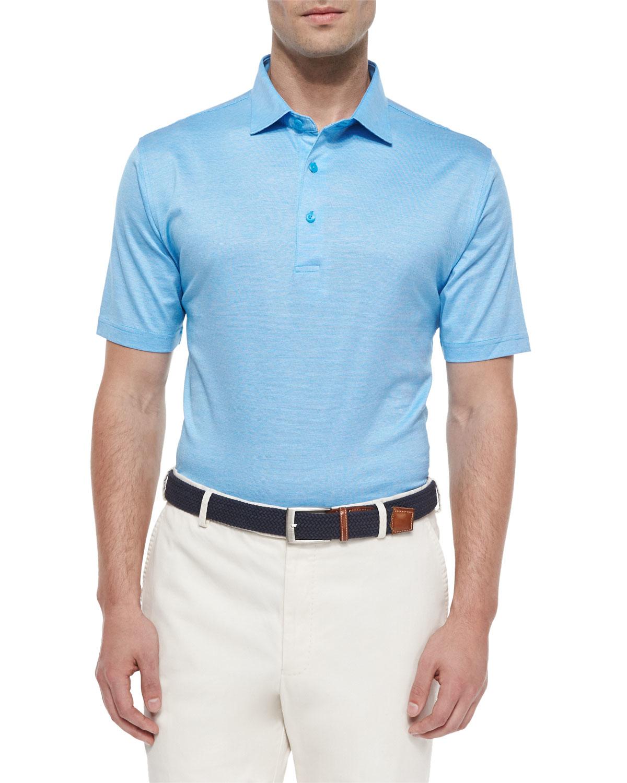 Peter millar rodeo stripe lisle polo shirt in blue for men for Peter millar polo shirts