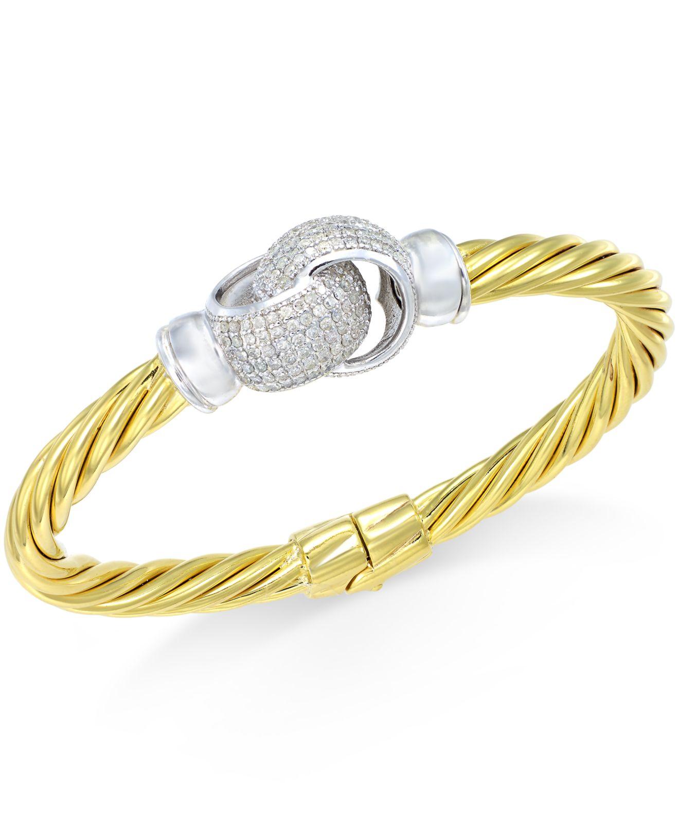 macy s interlocked knot bangle bracelet 1 ct t w
