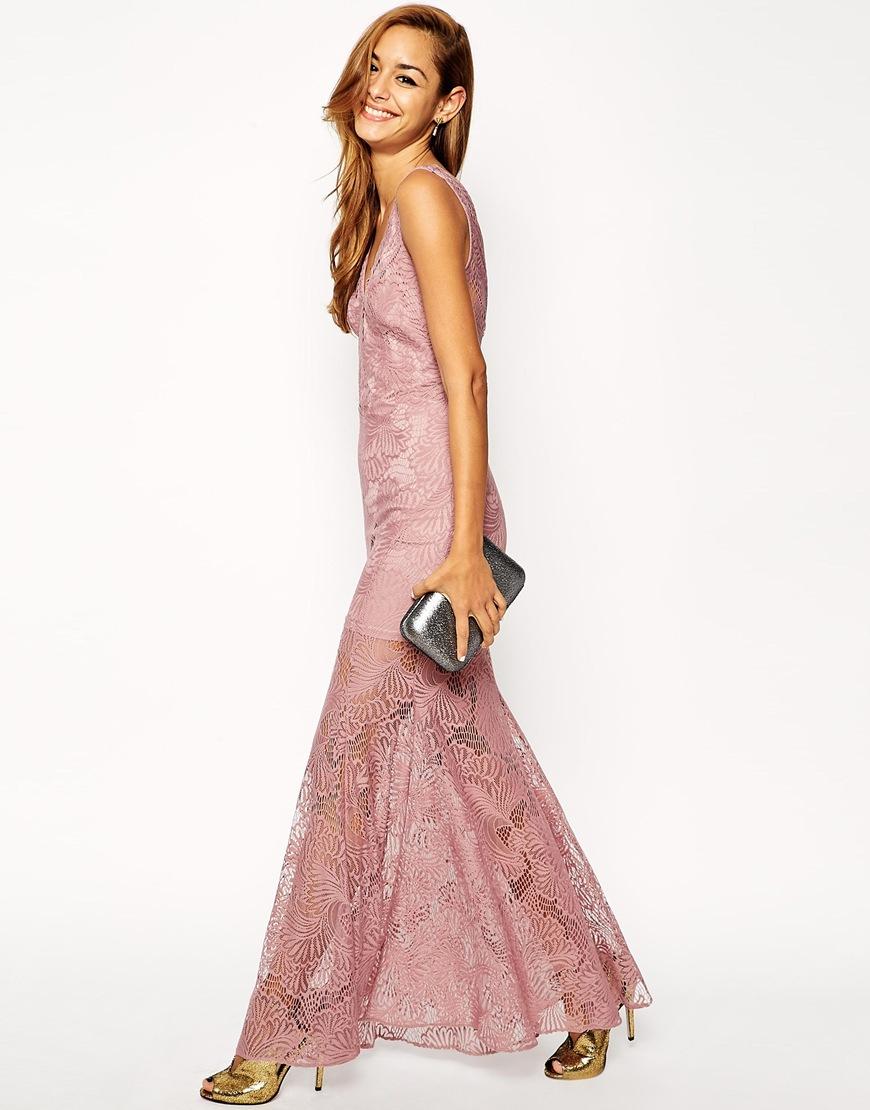 Asos Lace Fishtail Maxi Dress in Purple | Lyst
