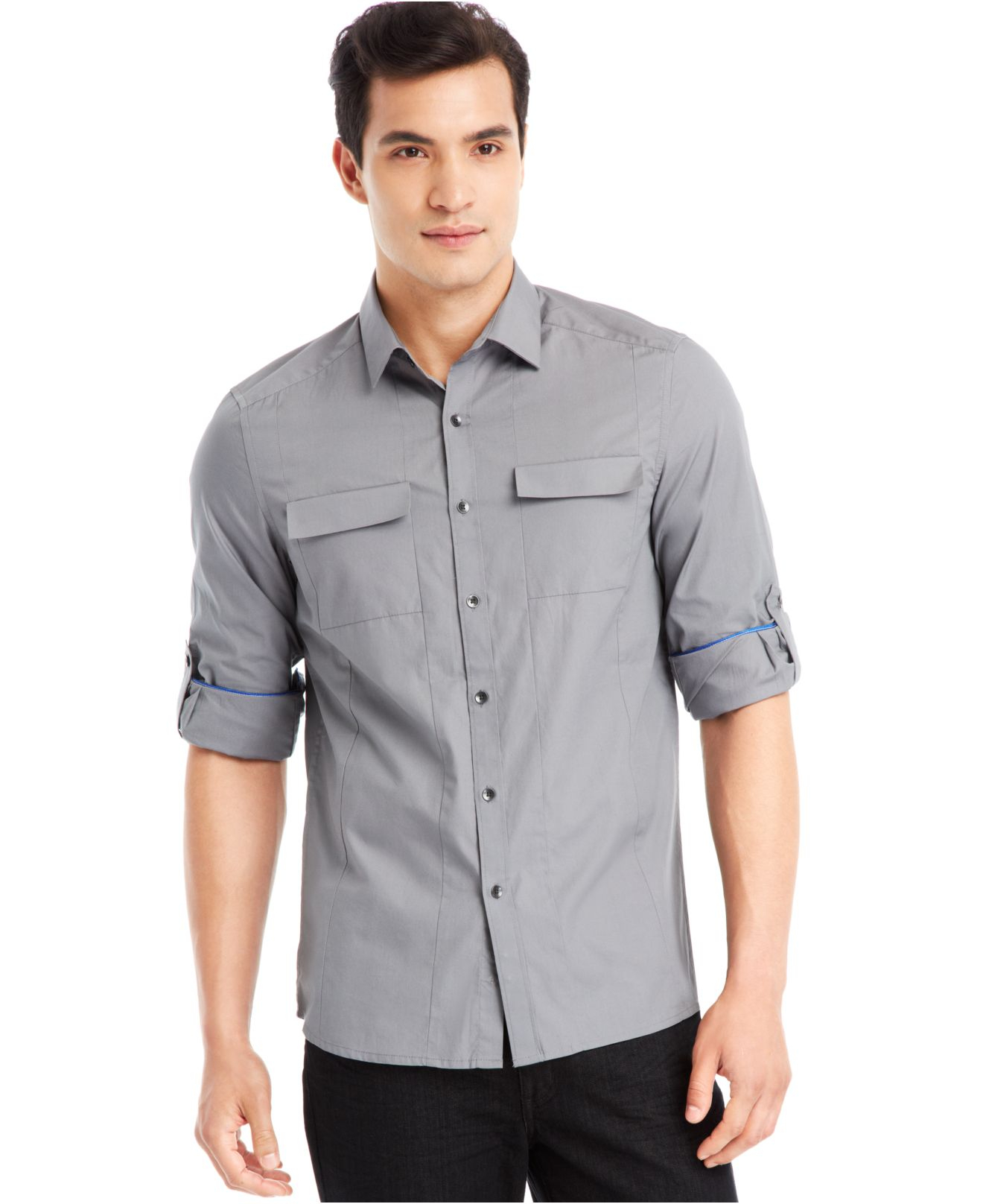 Lyst kenneth cole reaction novelty roll tab shirt in for Men s roll tab sleeve shirts
