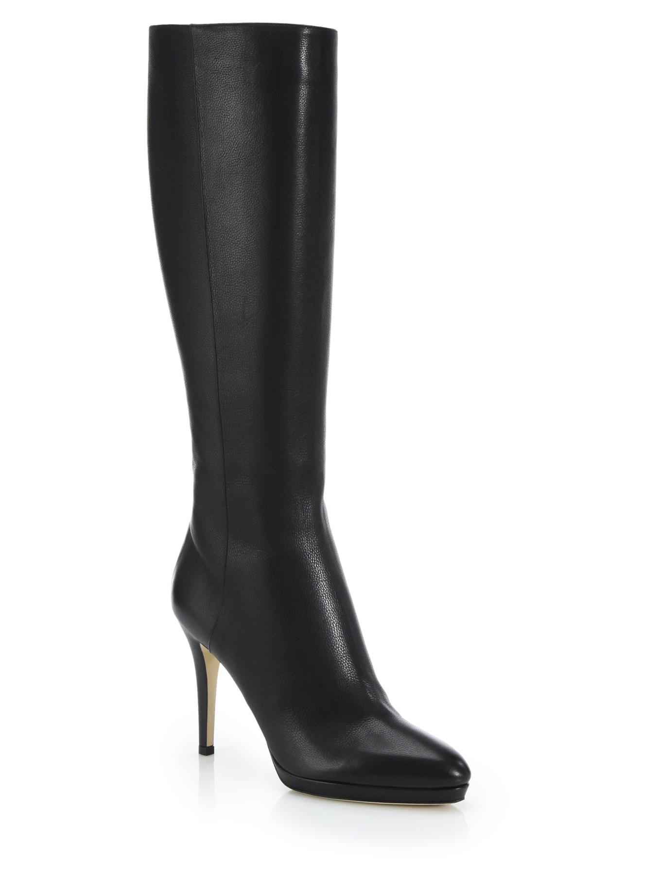 jimmy choo glynn leather knee high boots in black lyst